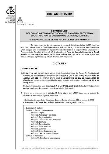 Dictamen Asociaciones - Consejo Económico y Social de Canarias