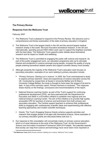 The Primary Review Response from the Wellcome Trust