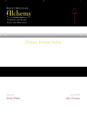 Online Interactions - Rocky Mountain Alchemy Splash Page