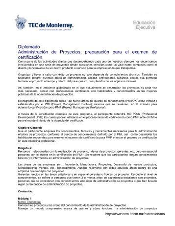 Diplomado Administración de Proyectos, preparación para el ...