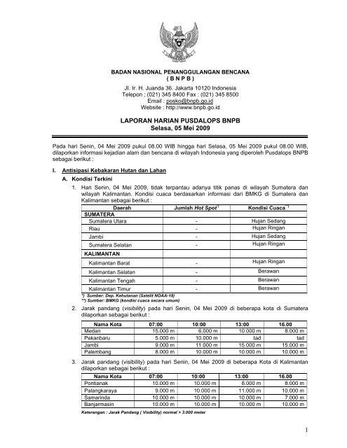 Laporan Harian 5 Mei 2009 - BNPB