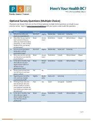 Optional Survey Questions (Multiple Choice) - GPSC