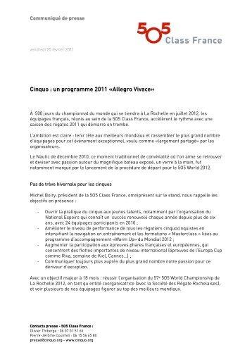 Cinquo : un programme 2011 «Allegro Vivace» - 5O5 Class France