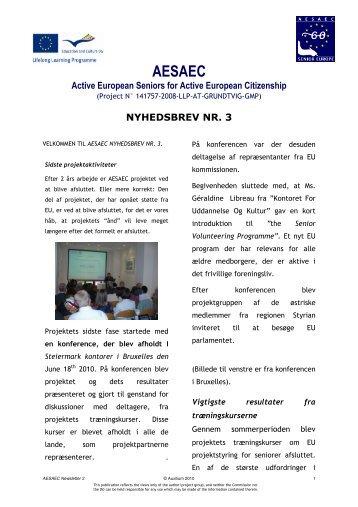 nyhedsbrev nr. 3 - AESAEC