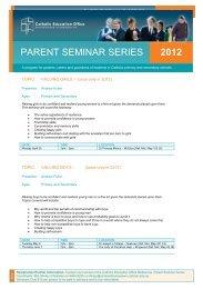 In Fide Newsletter Issue 03, 2012 - Parent Seminar - Whitefriars