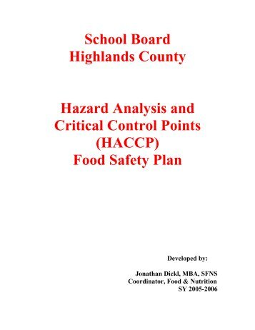 SBHC HACCP-Based SOPs - The School Board of Highlands County