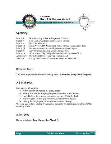 Upcoming Rotarian Quiz A Big Thanks.. Milestones - Willow Creek ...