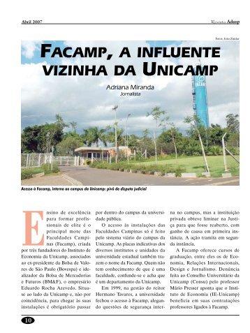 FACAMP, A INFLUENTE VIZINHA DA UNICAMP - Adusp