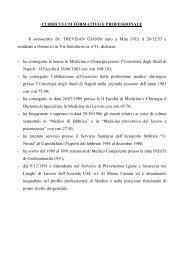 CURRICULUM FORMATIVO E PROFESSIONALE Il sottoscritto Dr ...