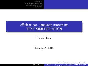 efficient nat. language processing TEXT SIMPLIFICATION