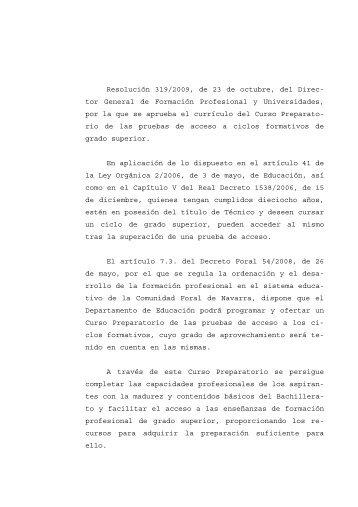 Resolución 319/2009, de 23 de octubre, del Direc - Departamento ...