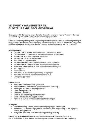 vicevært / varmemester til glostrup andelsboligforening