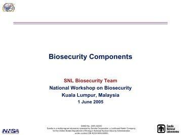 Biosecurity Components - Sandia National Laboratories