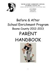 PARENT HANDBOOK - Boone County Community Network