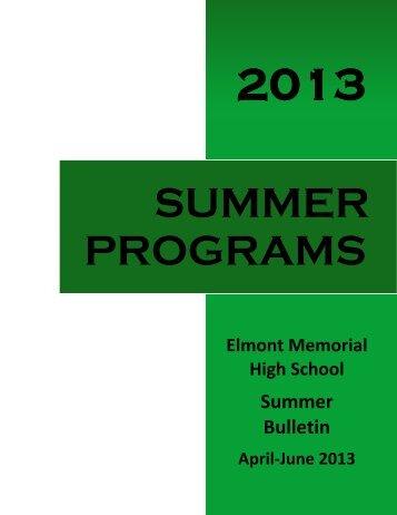 2013 Summer Bulletin - Sewanhaka Central High School District
