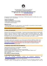 Folder _EDITAL DE DIVULGAÇÃO_ 2010 - FCM - Unicamp