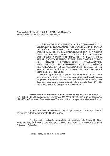 Agravo de Instrumento n. 2011.085261-6, de Blumenau Relator ...