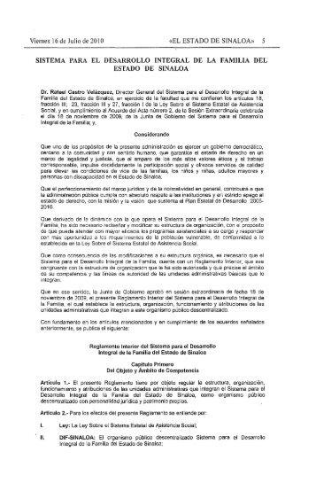Reglamento Interior del Sistema para el Desarrollo Integral de la ...