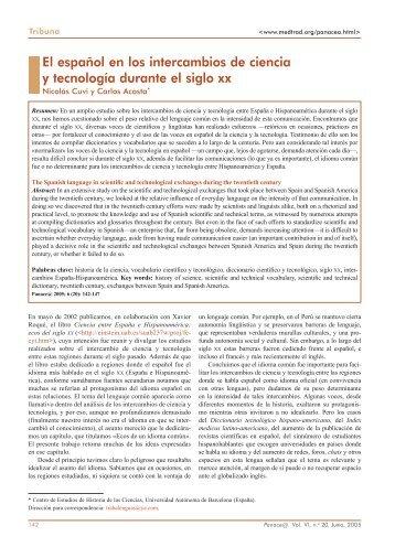El español en los intercambios de ciencia y tecnología