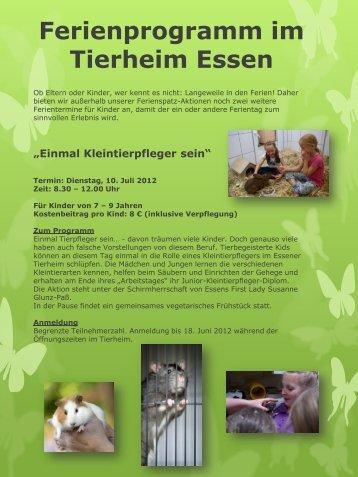 Ferienprogramm im Tierheim Essen