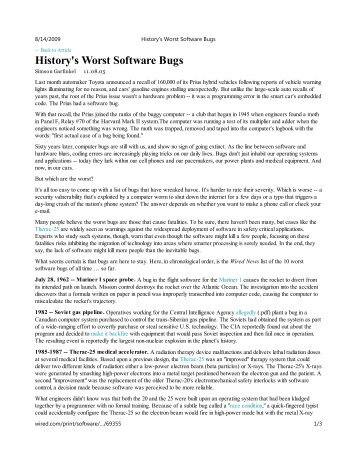 History's Worst Software Bugs - GSE