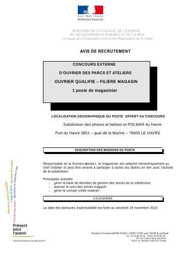FILIERE MAGASIN 1 poste de magasinier - Ministère Equipement