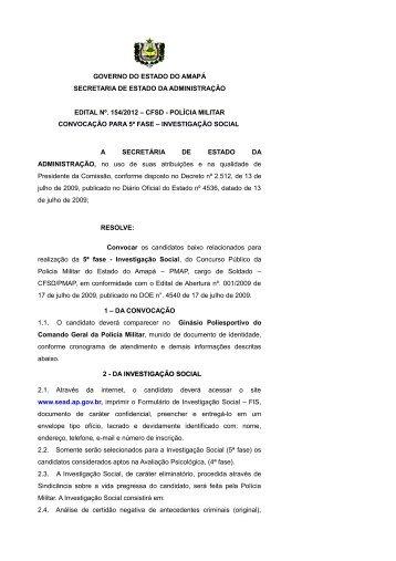 cfsd - polícia militar convocaçã - SEAD - Governo do Estado do Amapá