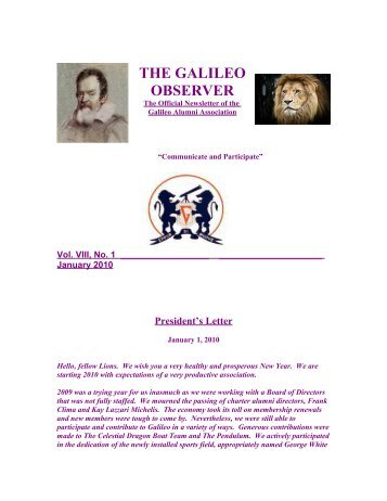 the galileo observer - Galileo Academy of Science & Technology