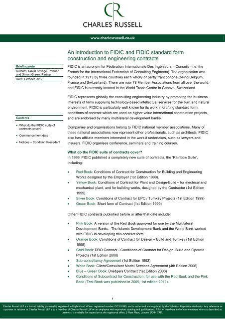 Fidic Green Book Short Form Of Contract