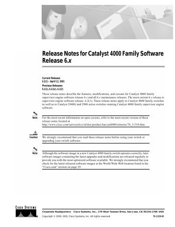 Release Notes for Catalyst 4000 Family Software ... - Cisco Academy