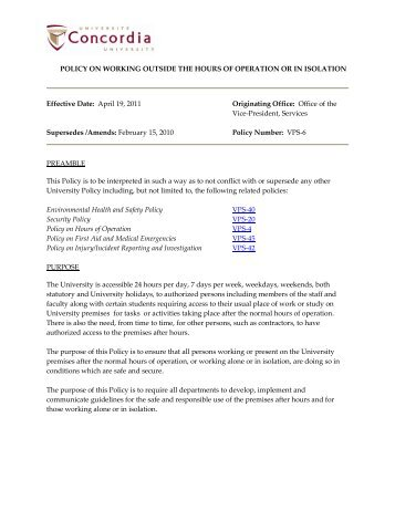 Policy on working outside the hours of operation or in isolation