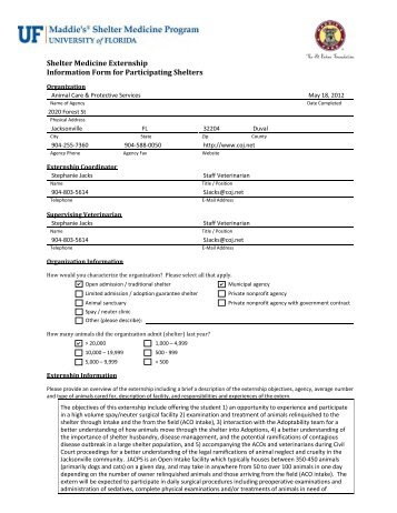 Shelter Medicine Externship Information Form for Participating ...