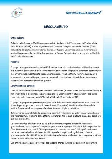 Regolamento Giochi della Gioventù 2010-2011 - CONI - Comitato ...
