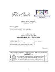 Deliverable D-1.3 (Video Coder Pilot Study) - Flexcode