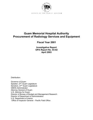 Guam Memorial Hospital Authority - The Office of Public Accountability