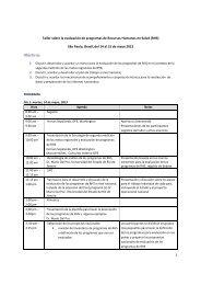 Objetivos: - Observatorio de Recursos Humanos en Salud