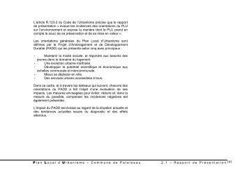 Evaluation des indices du projet sur l ... - Ville de Palaiseau