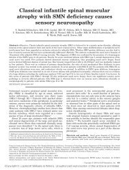 Classical infantile spinal muscular atrophy with SMN deficiency ...