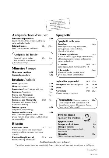 Antipasti /hors d'oeuvre Insalate / salads Risotto ... - Mamma Mia