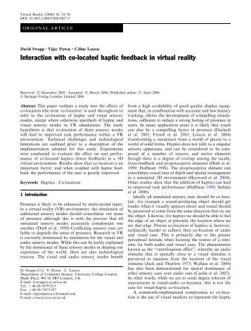 Interaction with co-located haptic feedback in virtual reality