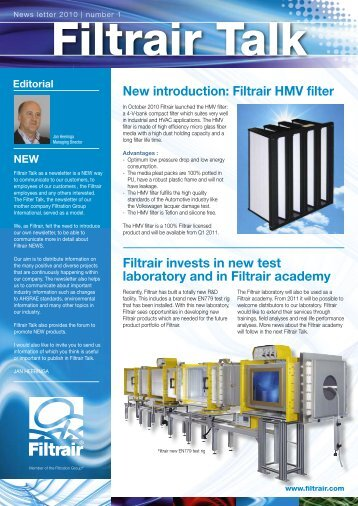 New introduction: Filtrair HMV filter Filtrair invests in new test ...