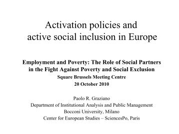 Activation policies and active social inclusion in Europe