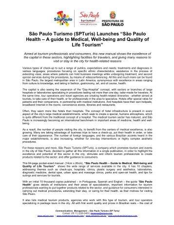 """São Paulo Turismo (SPTuris) Launches """"São Paulo Health – A ..."""
