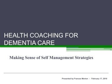Dementia Self-Managed - solutions - east toronto's health ...