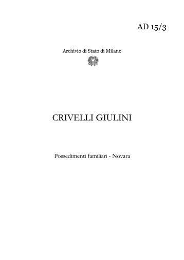 Possedimenti familiari - Novara - Inventario - Archivio di Stato di ...
