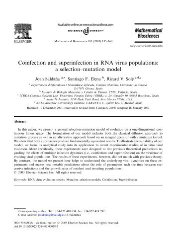 Coinfection and superinfection in RNA virus populations: a selection ...