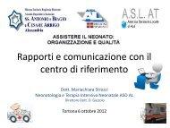 RAPPORTI E COMUNICAZIONE con il centro di riferimento - ASL AL