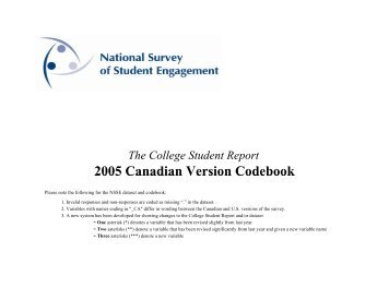 NSSE 2005 Canadian Codebook