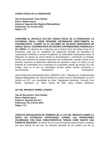 CÓDIGO FISCAL DE LA FEDERACIÓN Tipo de Documento: Tesis ...