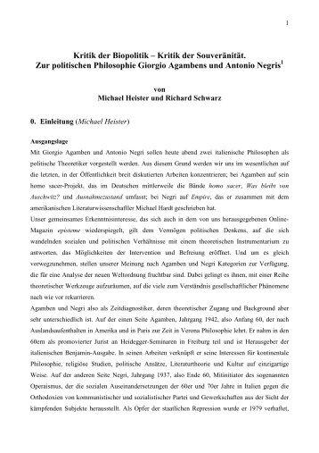 Kritik der Souveränität. Zur politischen Philosophie Giorgio - episteme